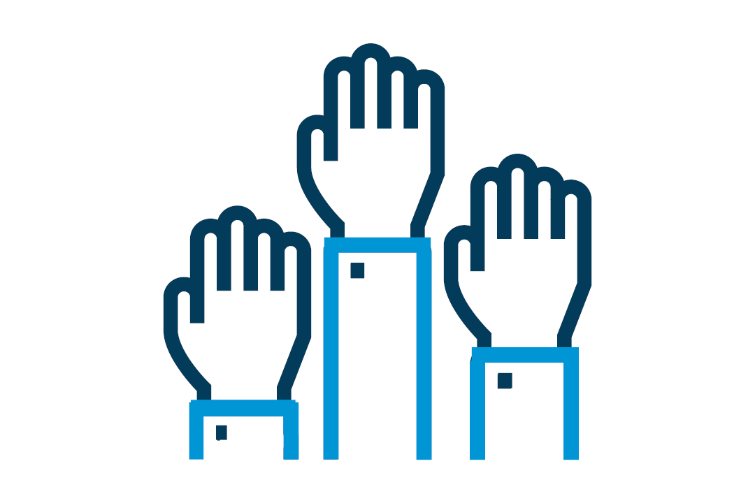 icon of several hands raised