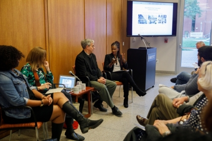 (From left) Natalie Hopkinson, Amanda Huron, Gregory Squires and Sasha Ann-Simons discuss D.C.'s housing practices